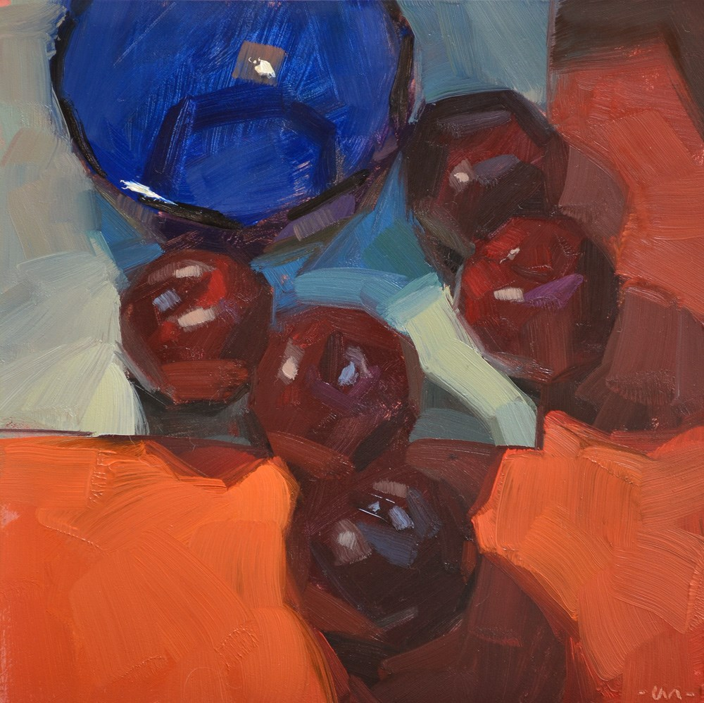 """Plums to the Rescue"" original fine art by Carol Marine"