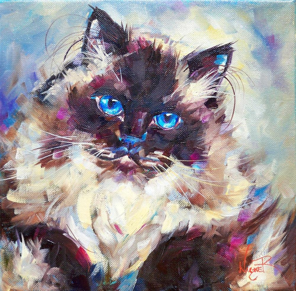 """COMMISSIONED HIMALAYAN CAT PORTRAIT"" original fine art by Olga Wagner"