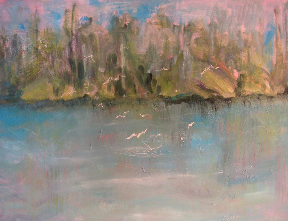 """BIRDS FEEDING  Plein Air Daily Painting"" original fine art by Mary Ellen Koser"