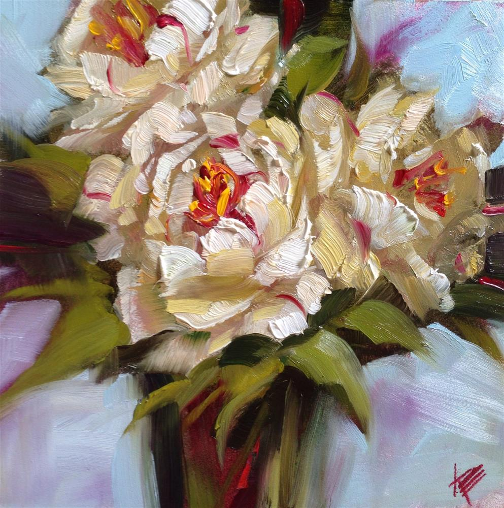 """Peonies Still Life II"" original fine art by Krista Eaton"