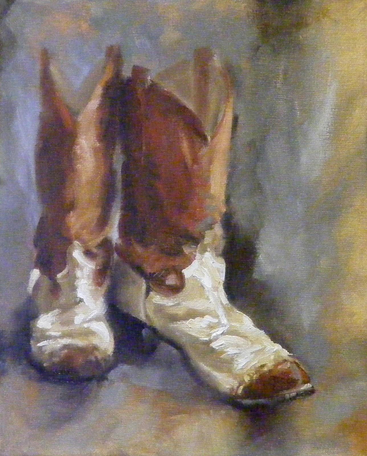 """Paint your Boots, Still Life, Oil"" original fine art by Diana Delander"