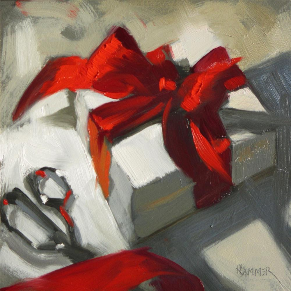 """Cutting the Ribbon 6 x 6  oil"" original fine art by Claudia Hammer"