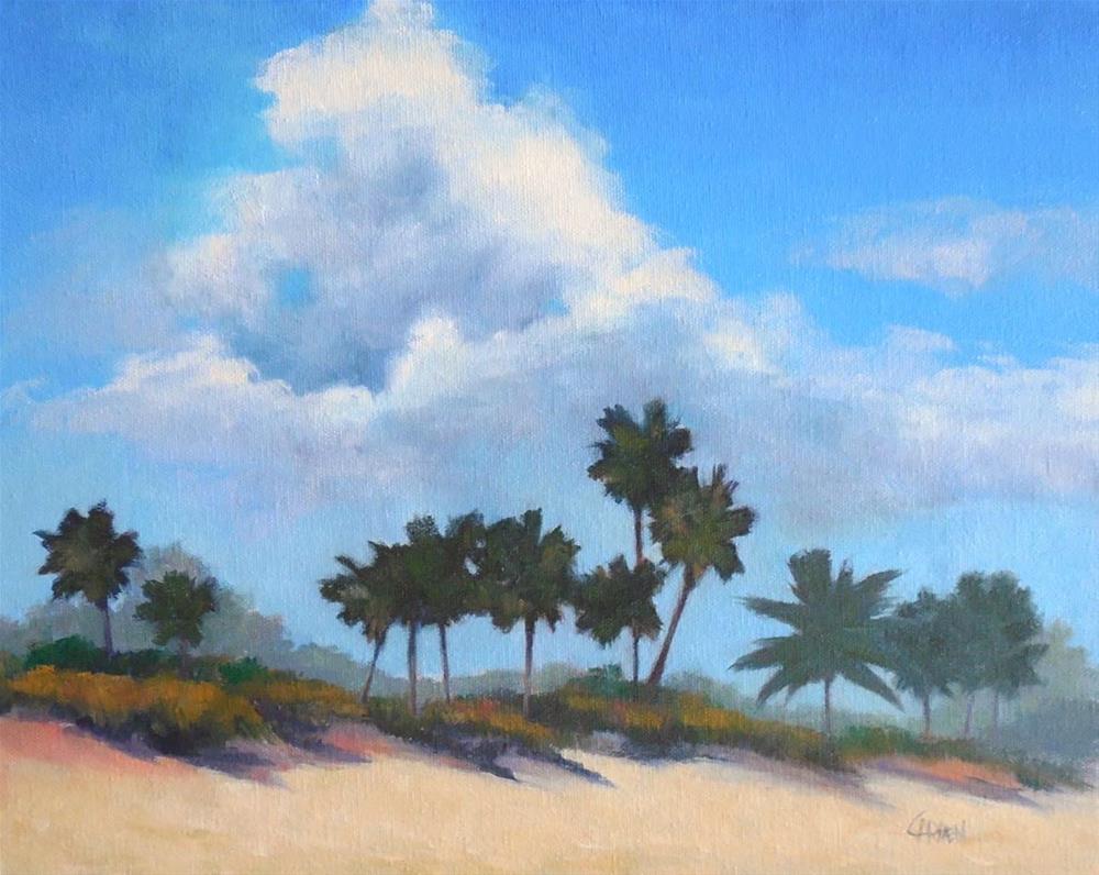 """Beachscape, 14x11 Oil on Canvas, Florida Beach Scene"" original fine art by Carmen Beecher"