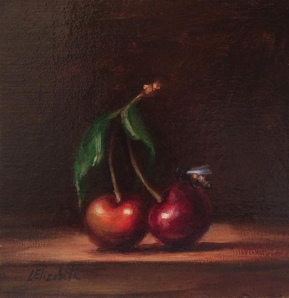 """Cherries with Honey Bee,  6x6 Oil on linen Panel"" original fine art by Carolina Elizabeth"