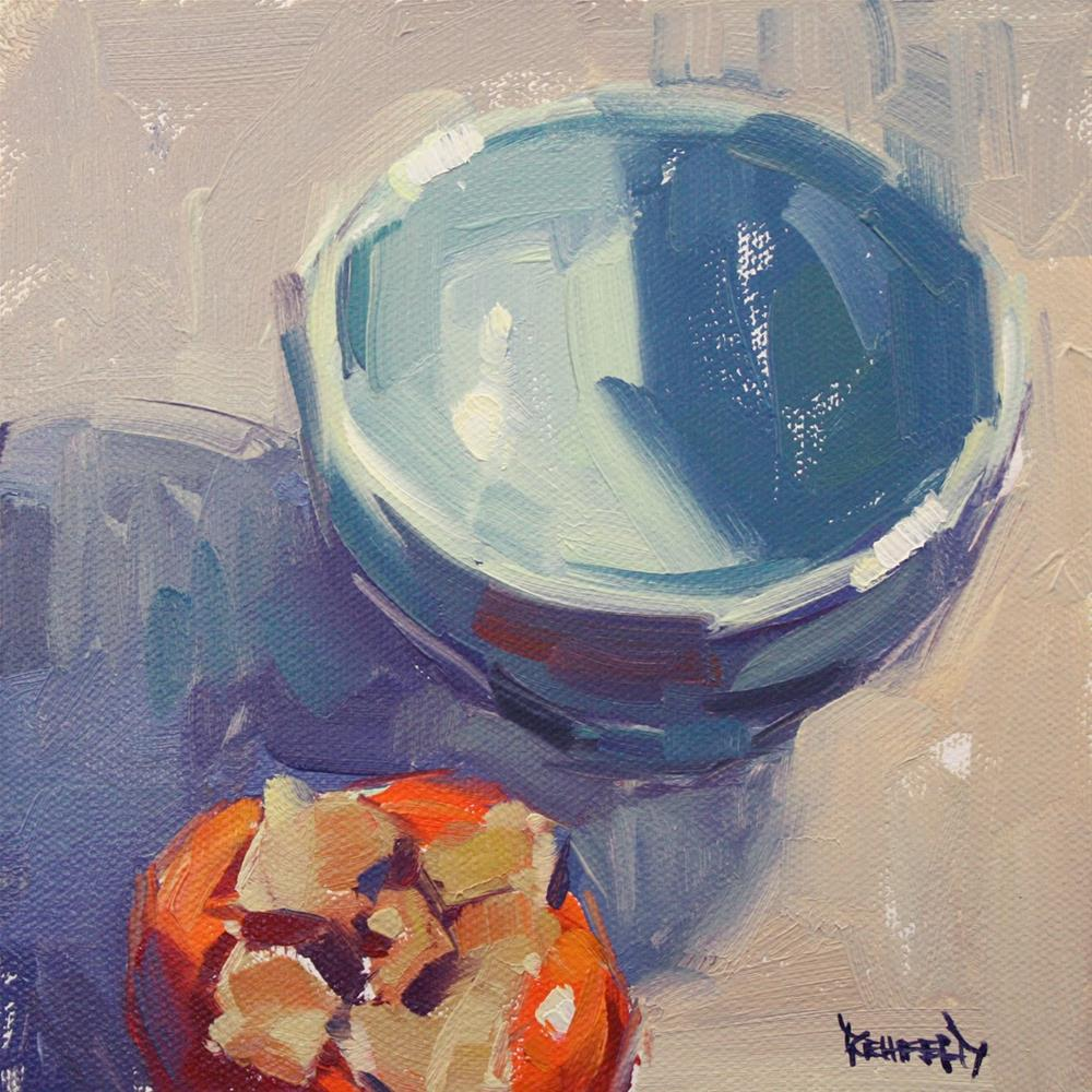 """Blue Bowl and Persimmon"" original fine art by Cathleen Rehfeld"