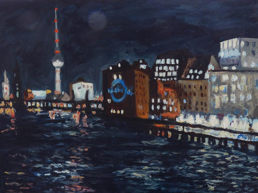 """Berlin at Night"" original fine art by Eva Grünwald"