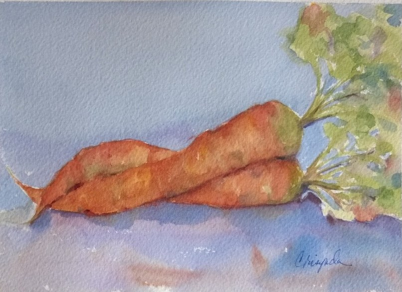 """Hugging carrots"" original fine art by Crisynda Buss"