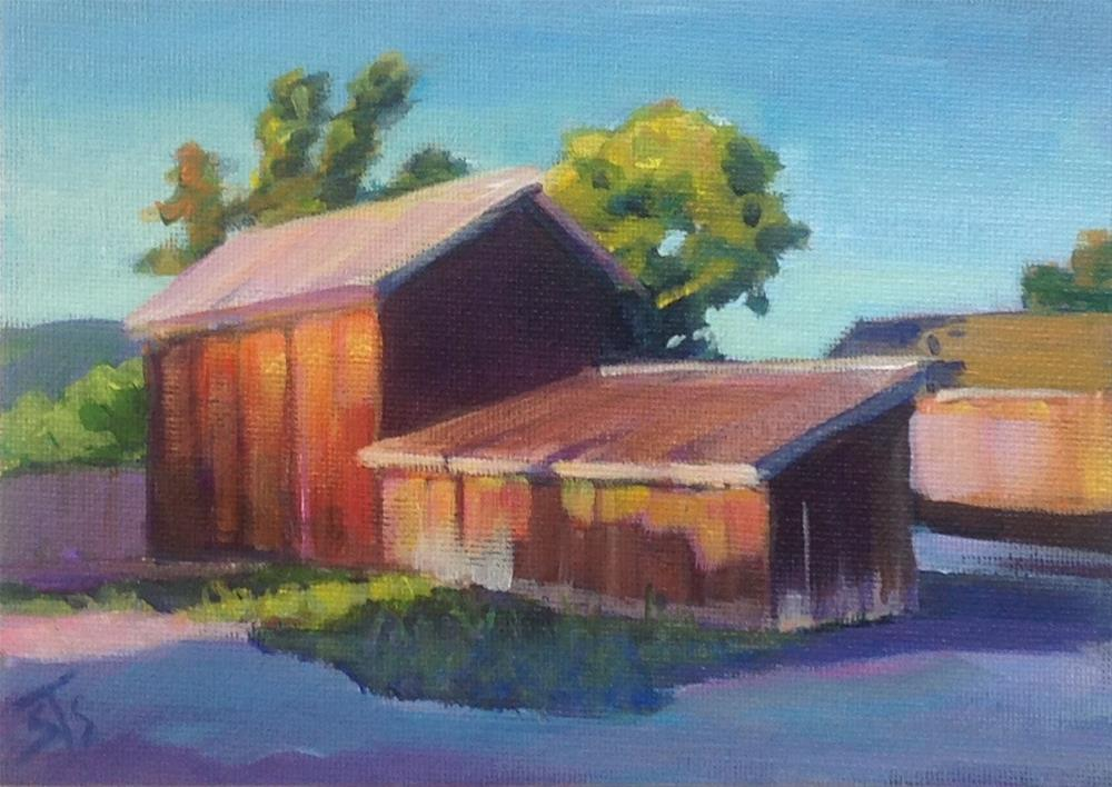 """Sunset Sheds"" original fine art by Susan Suraci"