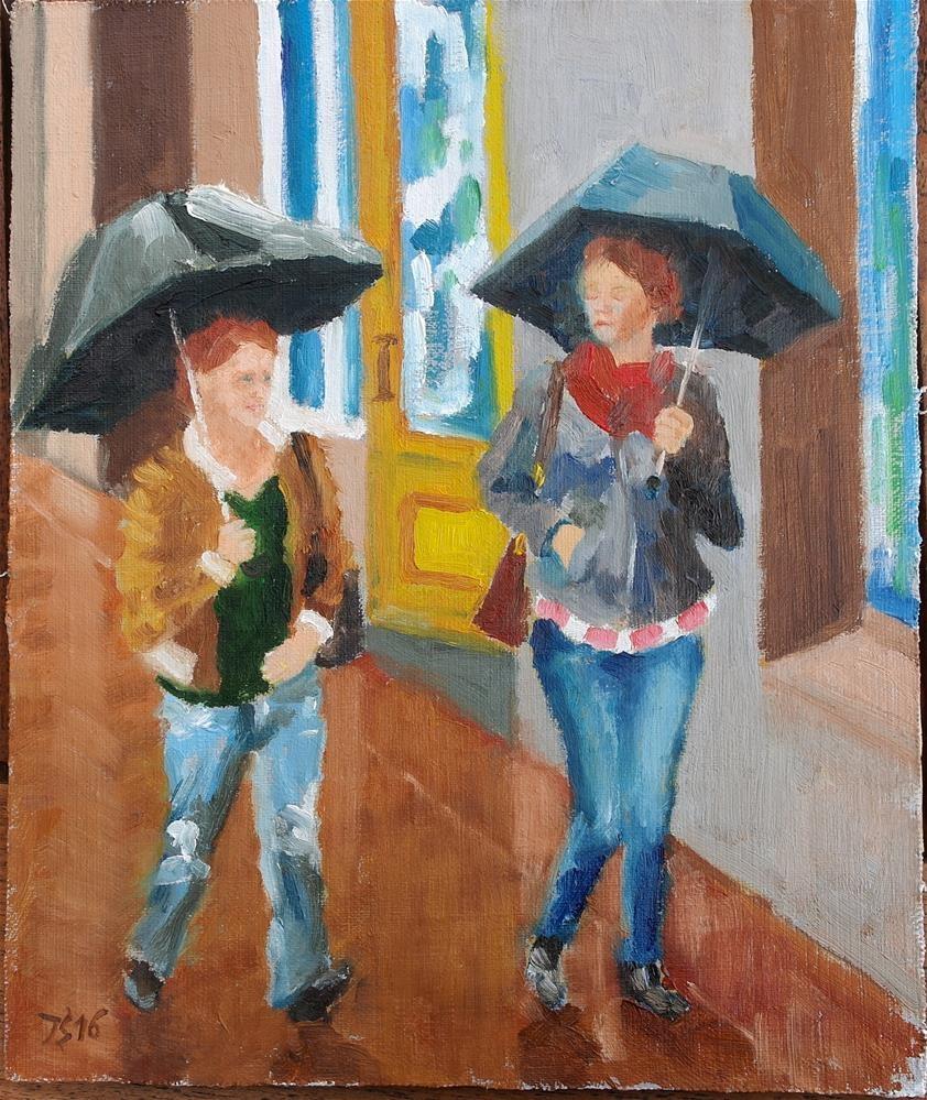 """""""2 under umbrelas"""" original fine art by Yuriy Semyonov"""