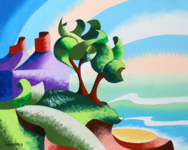 """Mark Webster - House on the Coast - Abstract Geometric Landscape Oil Painting"" original fine art by Mark Webster"