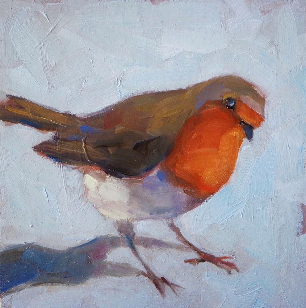 """Red robin"" original fine art by Maria Z."