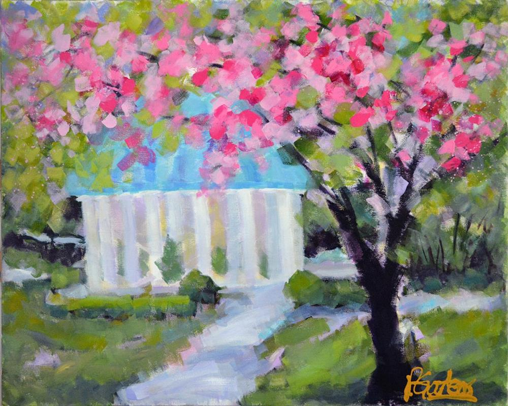 """Pink Spring House at The Greenbrier Hotel, White Sulphur Springs, WV"" original fine art by Pamela Gatens"