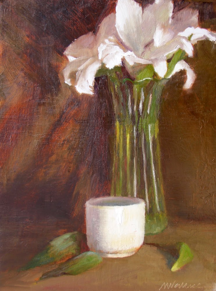 """""""#17 white shapes and lines"""" original fine art by Nancy Wallace"""