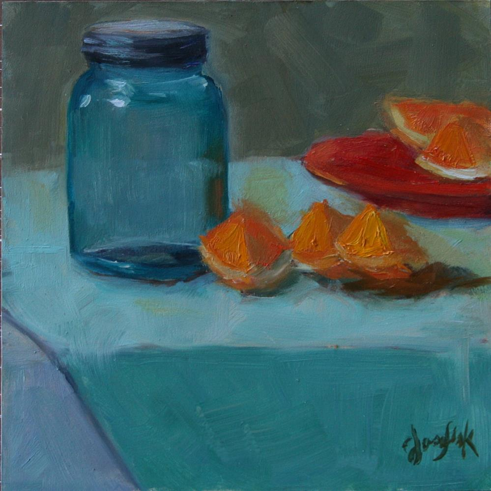 """Jar with oranges #2"" original fine art by Carol Josefiak"