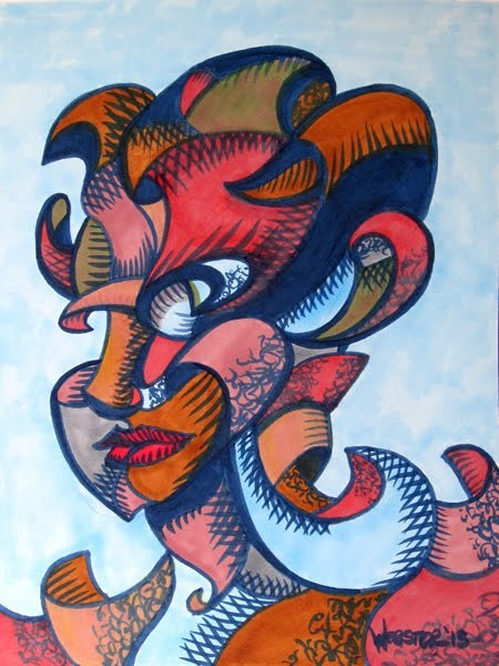 """Mark Webster - Abstract Geometric Futurist Portrait Ink Drawing"" original fine art by Mark Webster"