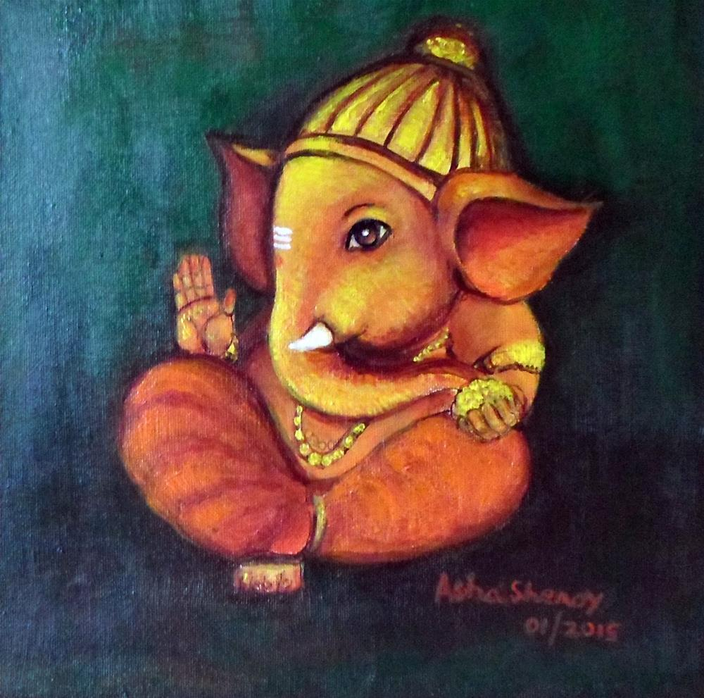 """""""Baby Ganesh"""" original fine art by Asha Shenoy S"""