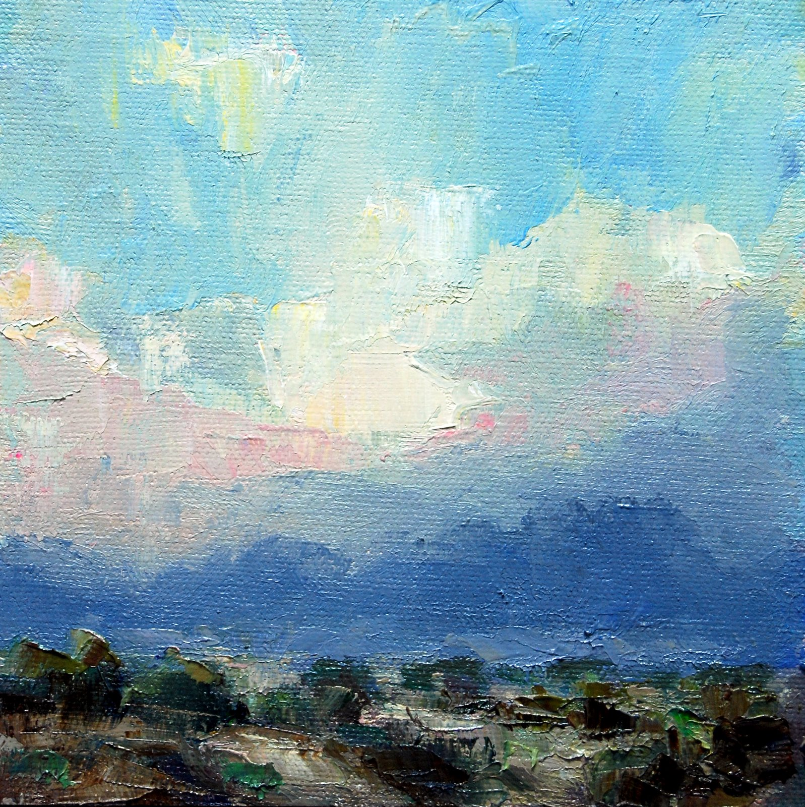 Stormy Clouds at Sunset. original fine art by Julie Ford Oliver