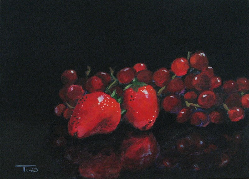 """Strawberries and Grapes"" original fine art by Torrie Smiley"