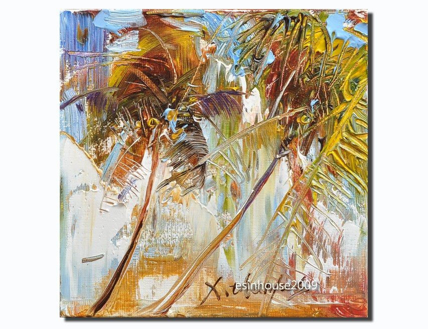 """6X6 beach coconut trees the palm trees art original oil painting natural scene"" original fine art by Thomas Xie"