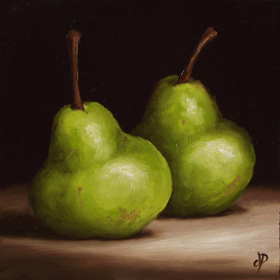 """Pair of Pears #8"" original fine art by Jane Palmer"