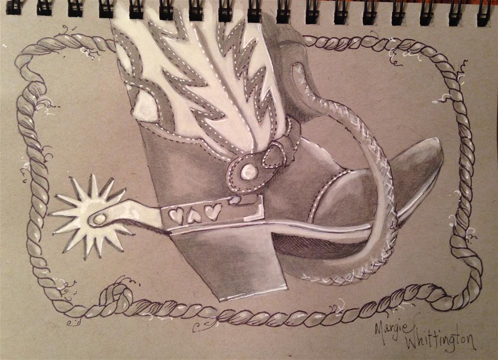 """Cowboy Boot"" original fine art by Margie Whittington"