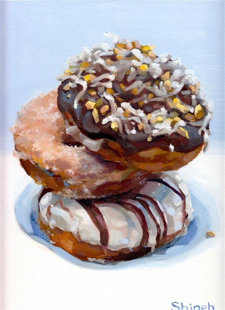 """Doughnuts for Breakfast II"" original fine art by Shineh Kim Yoon"