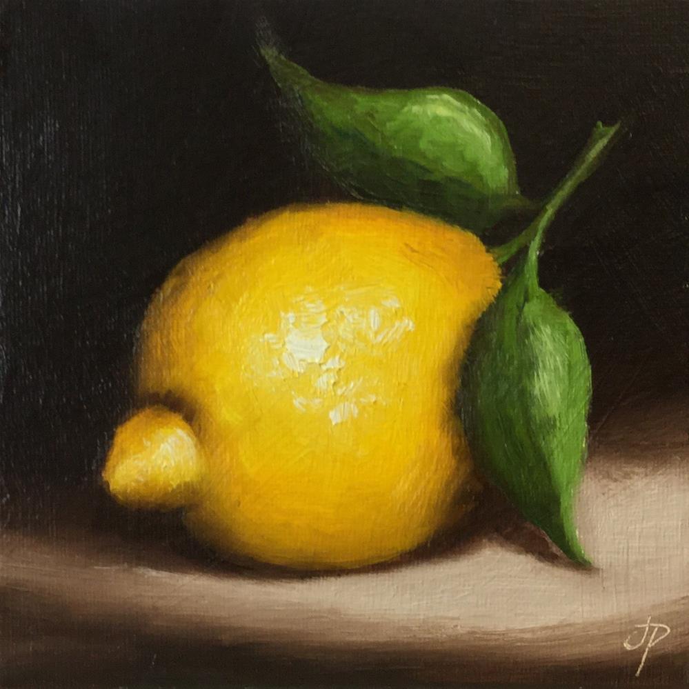 """Lemon with leaves"" original fine art by Jane Palmer"