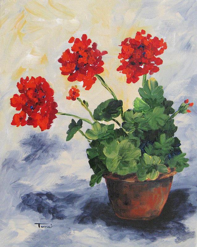 """Porch Geraniums"" original fine art by Torrie Smiley"
