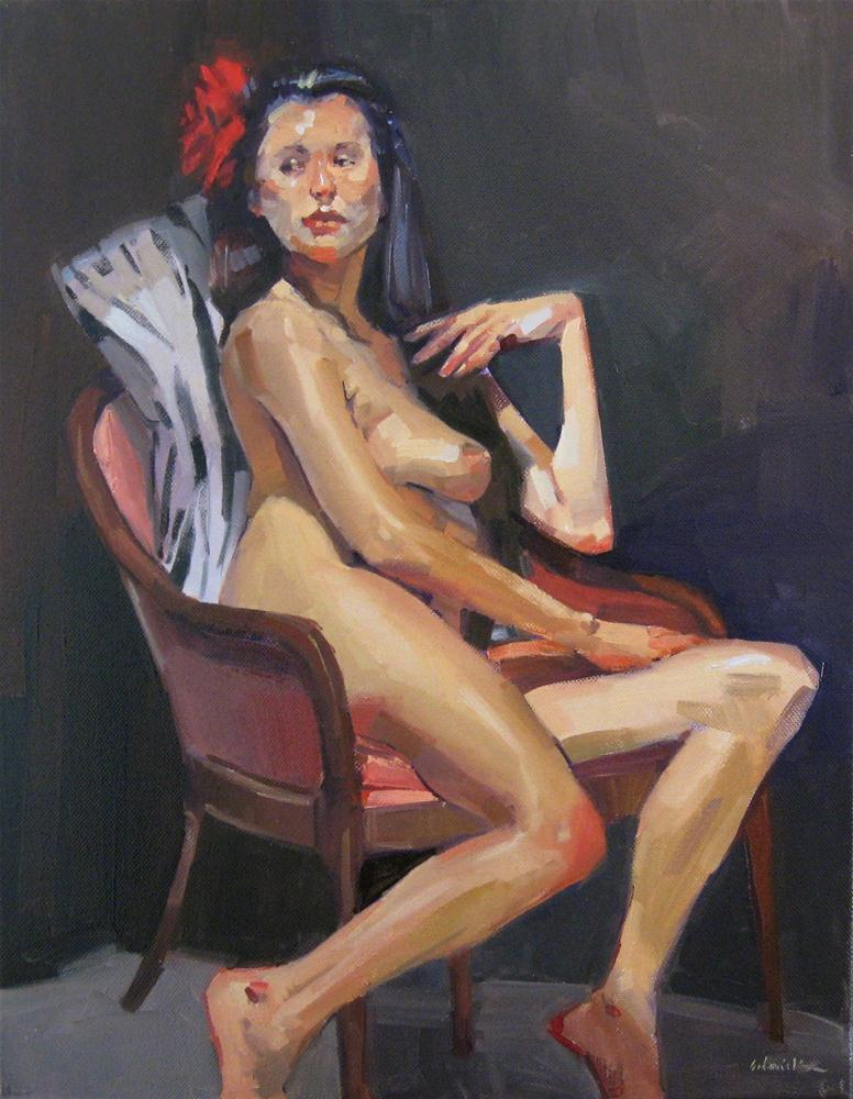 """Red Rose in Her Hair female nude figure painting fine art oil on canvas"" original fine art by Sarah Sedwick"