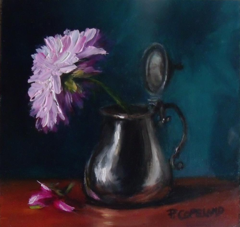 """Peony and Silver"" original fine art by Pamela H. Copeland"