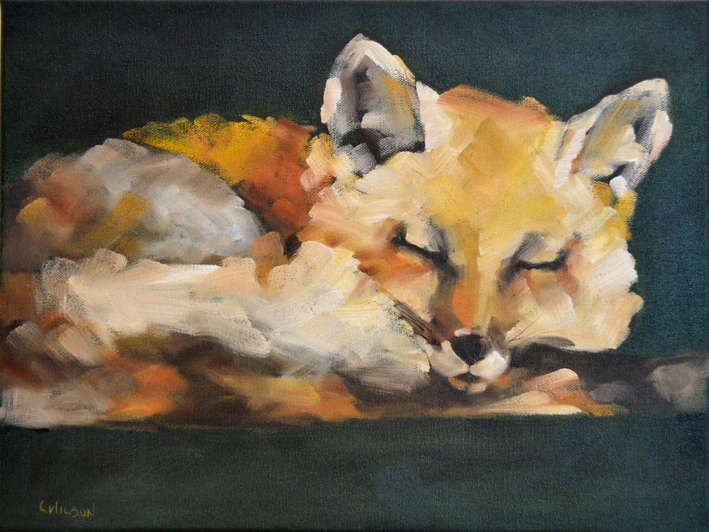 """Sleepy Fox"" original fine art by Cheryl Wilson"