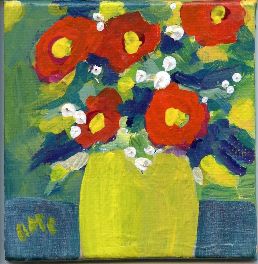 """Blooming Mini Pot"" original fine art by Arlayne McKee"