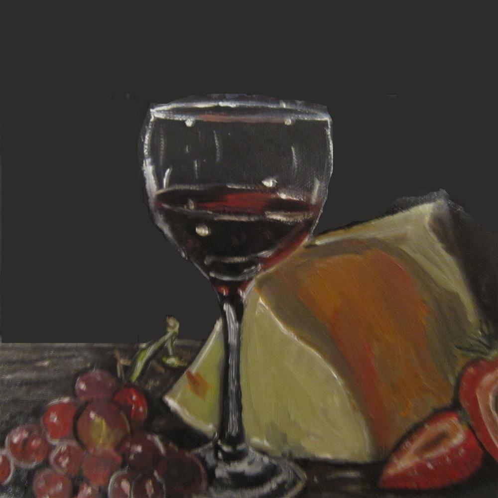 """Cheese, Wine Glass, Strawberries & Grapes, still life"" original fine art by Samara Doumnande"