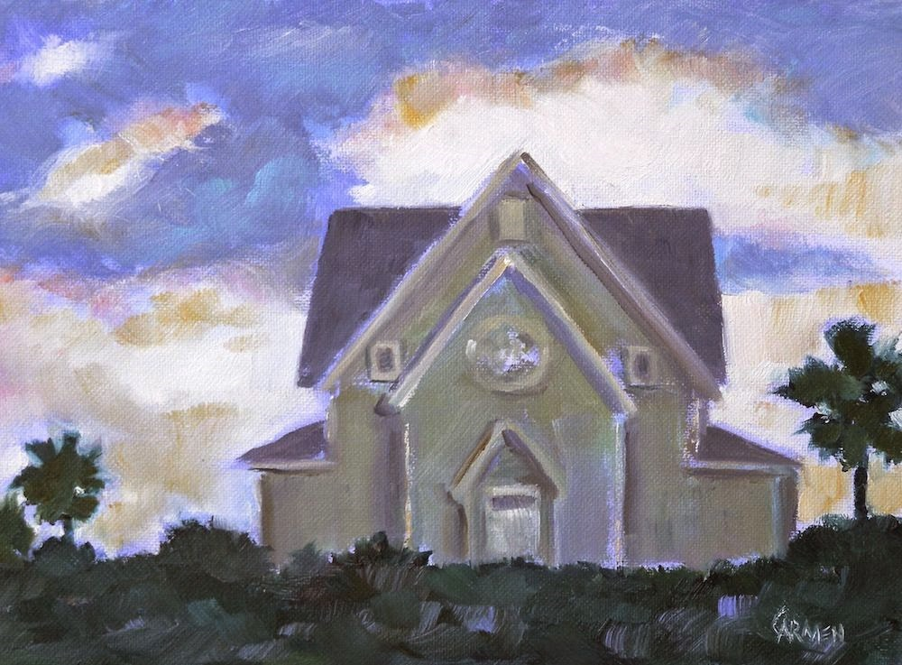 """House on the Beach, 8x6 Oil Painting on Canvas Panel"" original fine art by Carmen Beecher"