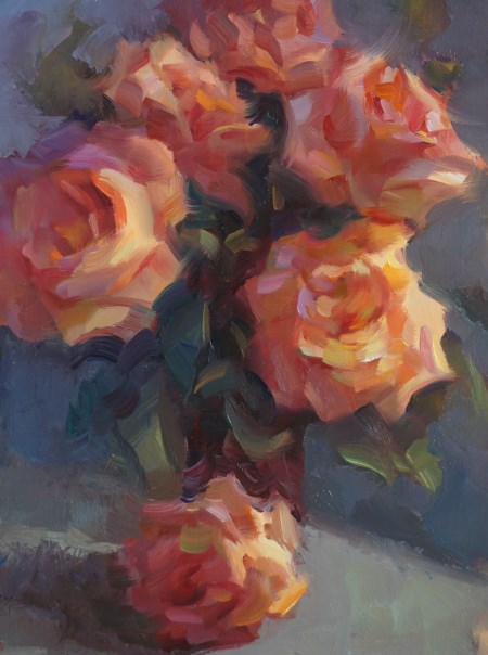 """Coral Roses #1"" original fine art by Carol Myer"