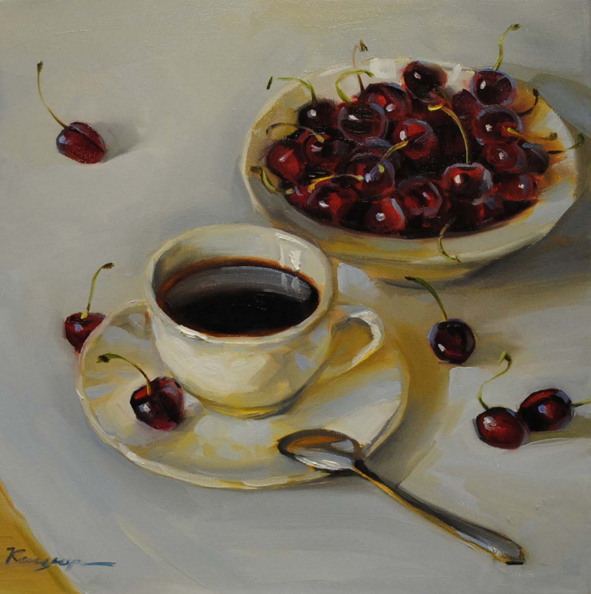 """Cherry coffee"" original fine art by Elena Katsyura"