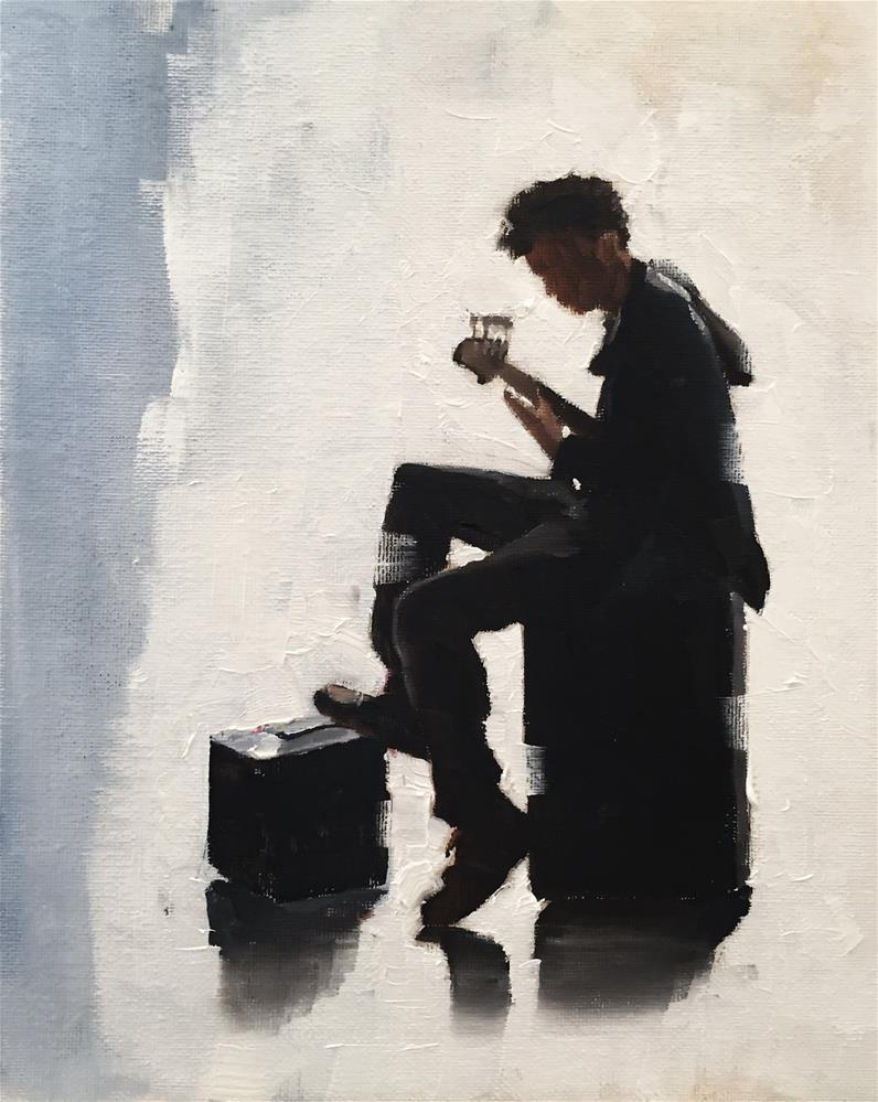"""The Bass Guitarist"" original fine art by James Coates"