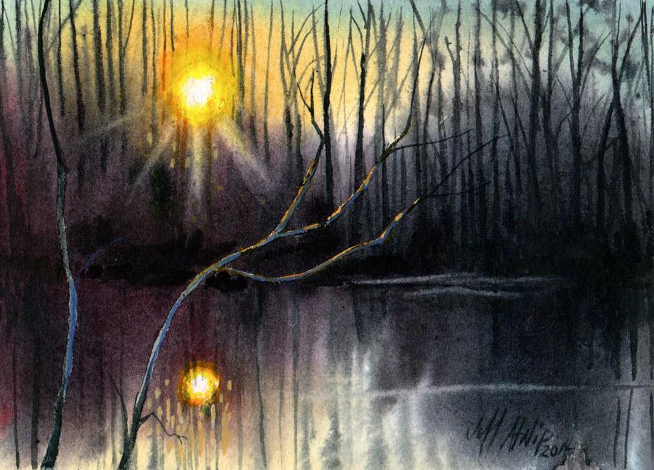 """Sunset On The Small Pond"" original fine art by Jeff Atnip"