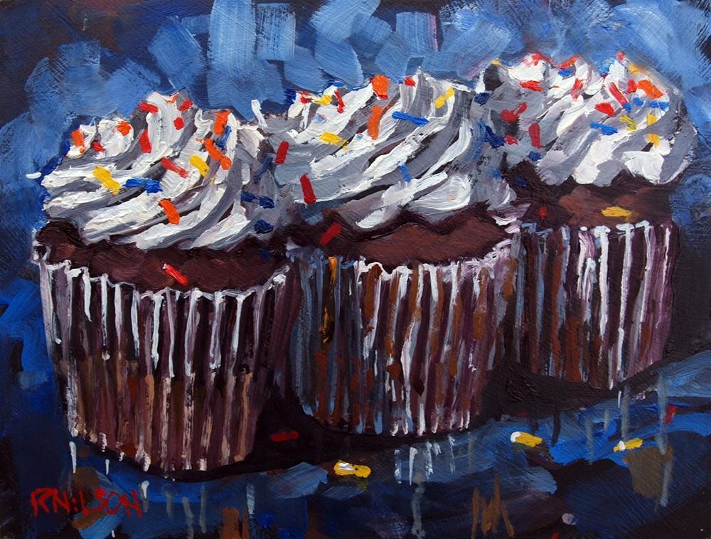 """Three Cupcakes"" original fine art by Rick Nilson"