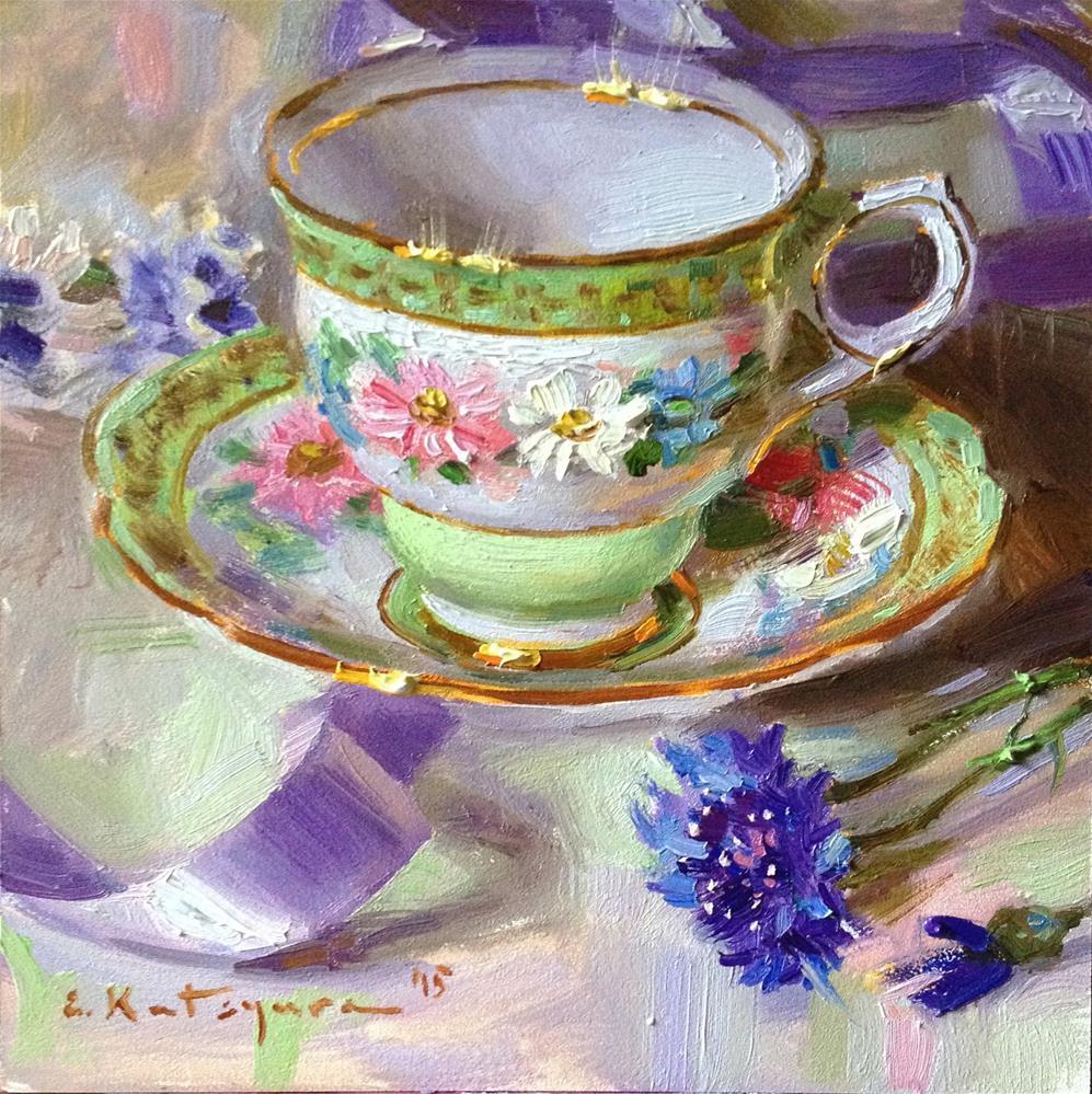 """Teacup and Lilac Ribbon"" original fine art by Elena Katsyura"