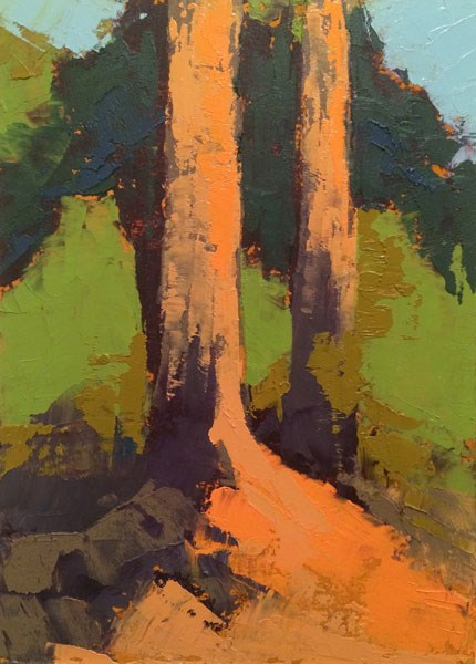 """Pines On Bank"" original fine art by Mary Gilkerson"