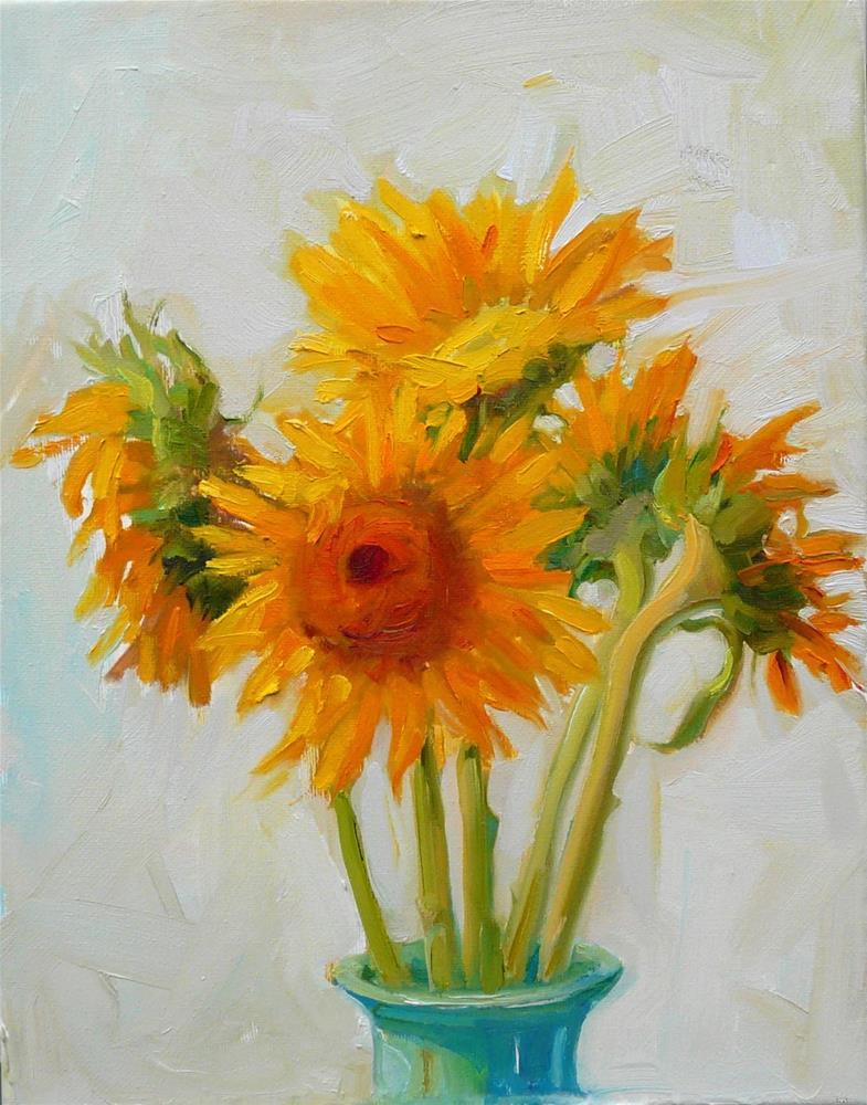 """Sunflowers in Jade Vase,still life,oil on canvas.14x11,price$500"" original fine art by Joy Olney"