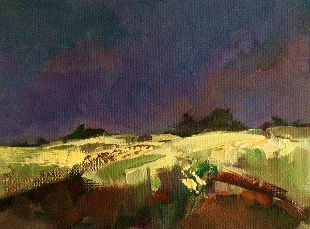 """Approaching Storm, Lincolnshire Fields"" original fine art by Anne Wood"