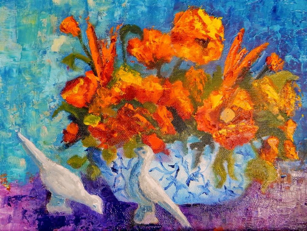 """""""White Cranes"""" original fine art by Phyllis Davis"""