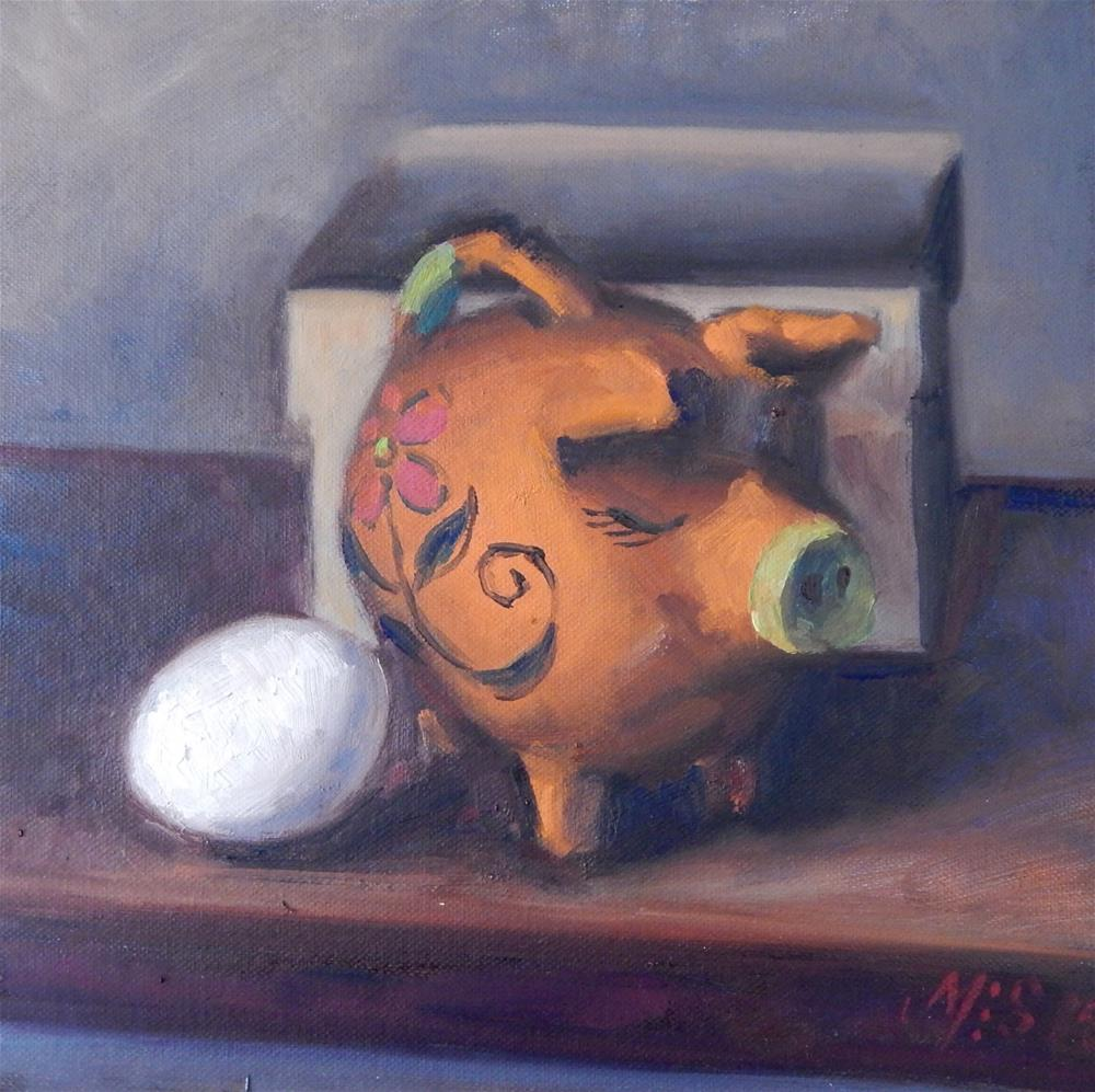"""Piggy Bank With Egg"" original fine art by Megan Schembre"