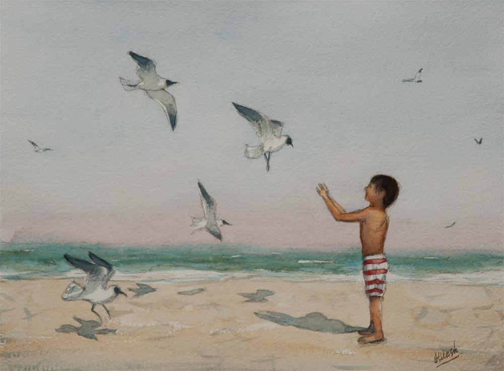 """Feeding Seagulls"" original fine art by Tesh Parekh"