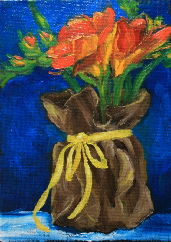 """Freesias with Yellow Ribbon"" original fine art by Jean Nelson"