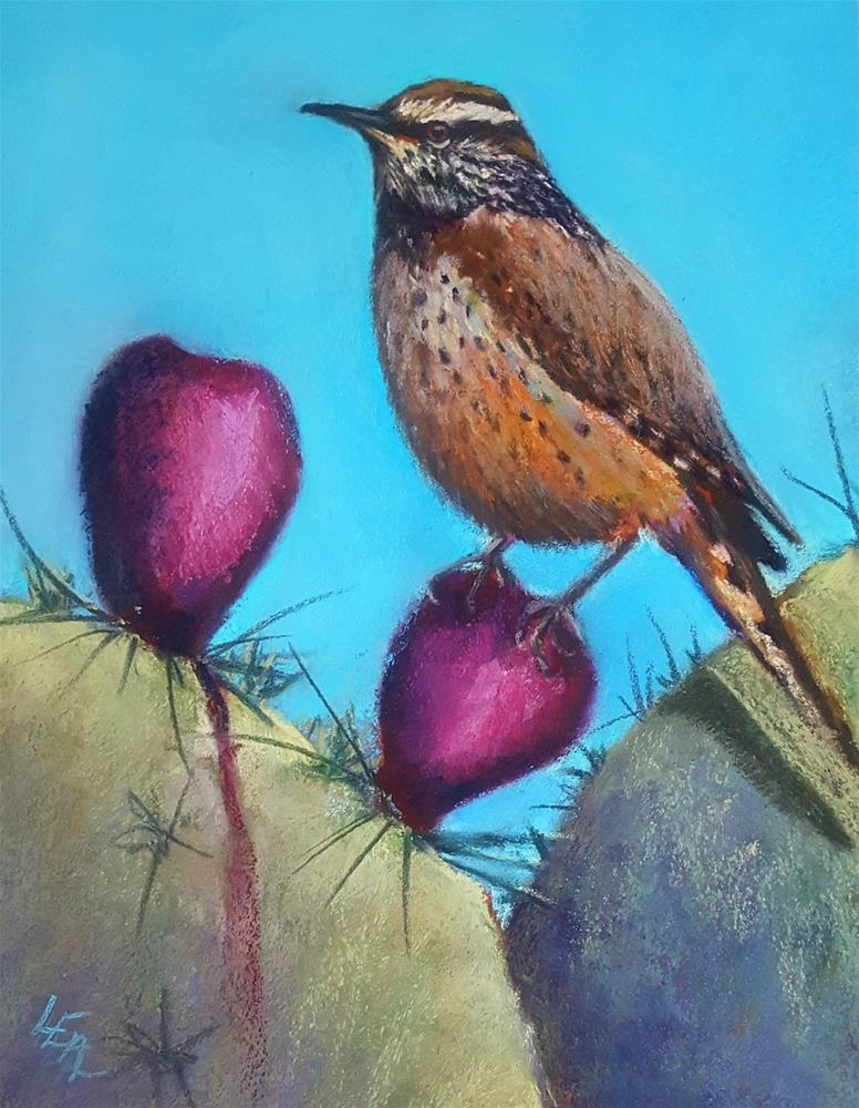 """Wren and Prickly Pears"" original fine art by Anna Lisa Leal"