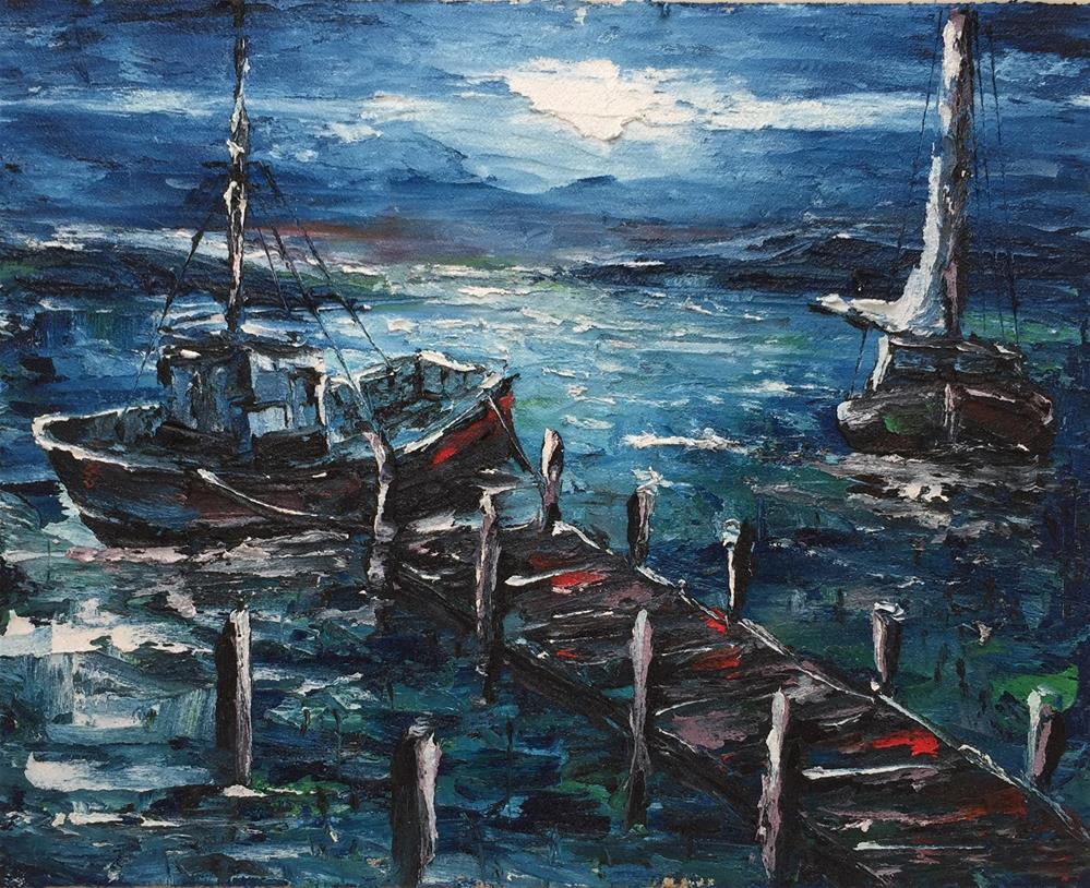 """MOONLIGHT DOCK"" original fine art by Ken Fraser"