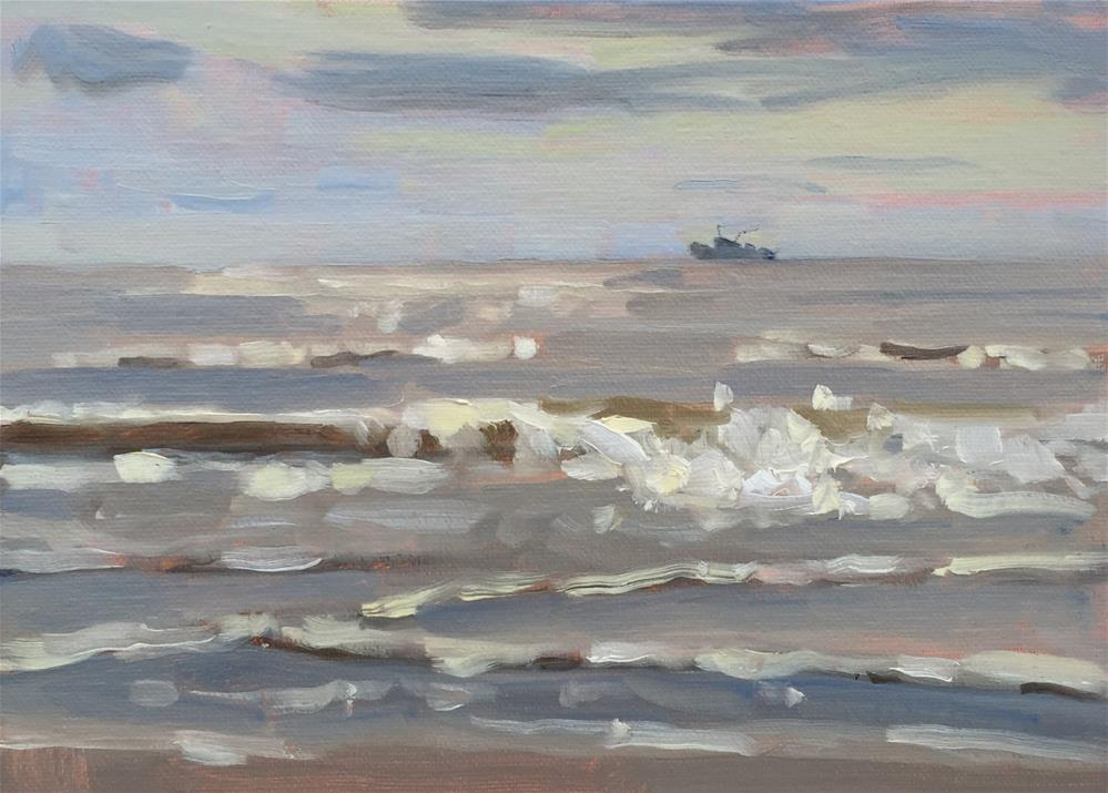 """Distant Shrimp Boat"" original fine art by Colleen Parker"